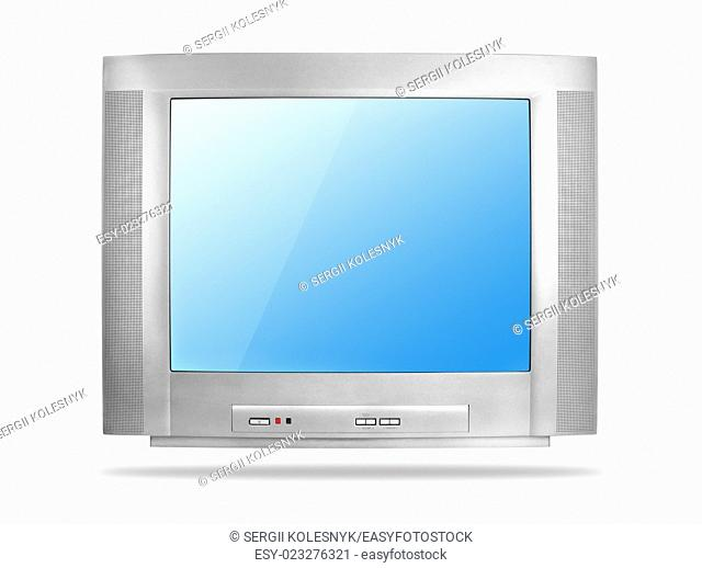 Old TV set isolated on a white background