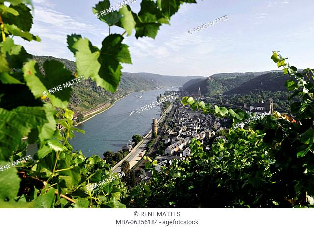 Germany, Rhineland-Palatinate, Oberwesel, castle of Schönburg, the romantic Rhine listed as World Heritage by UNESCO