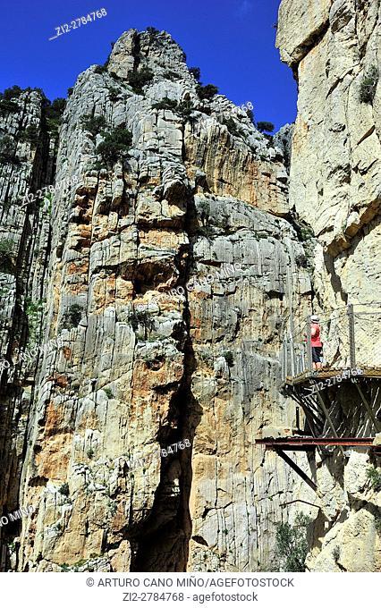 The Caminito del Rey is a path at the Desfiladero de los Gaitanes Natural Site. Malaga province, Spain