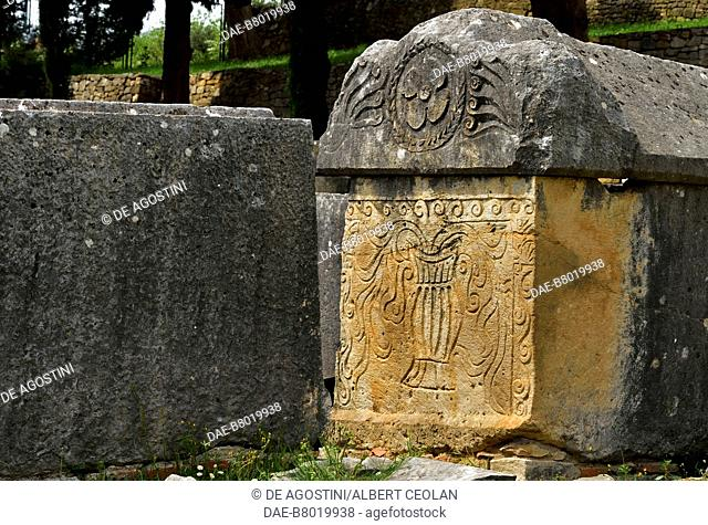 Decorated sarcophagus, Manastirine necropolis, Salona, Solin, Croatia. Paleo-Christian civilization