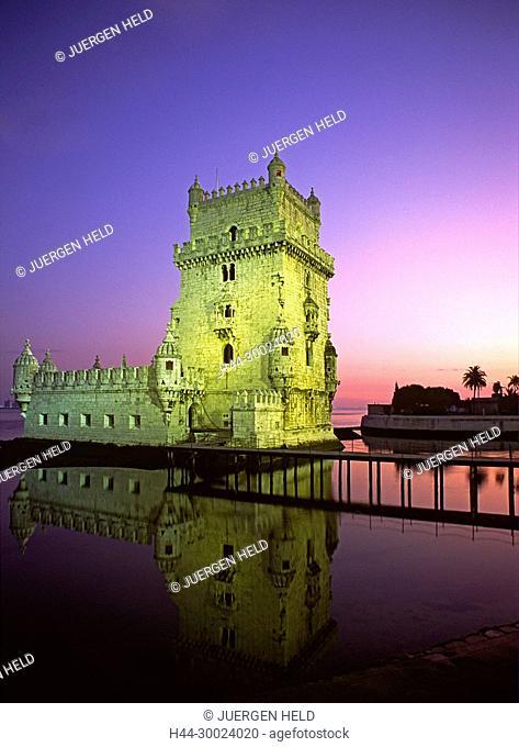 Portugal, Lisbon, Torre de Belem, dusk