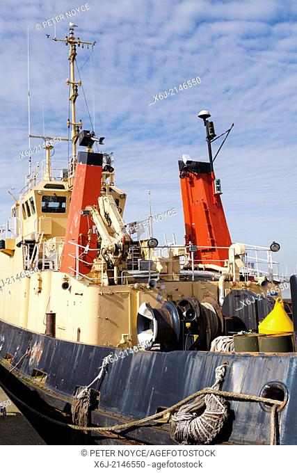 Close view of well used working winch tug boat