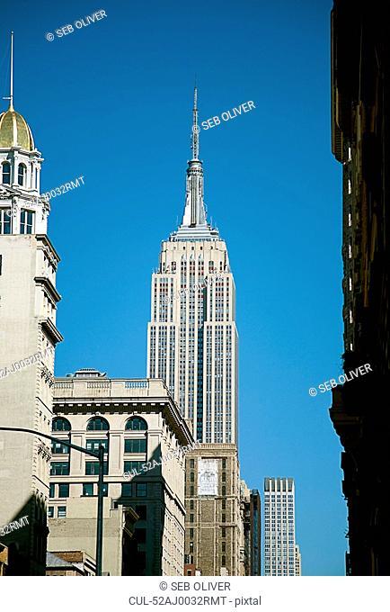 Skyscraper on city street
