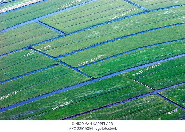Agricultural fields with crisscrossed irrigation canals, Groene Hart, Netherlands