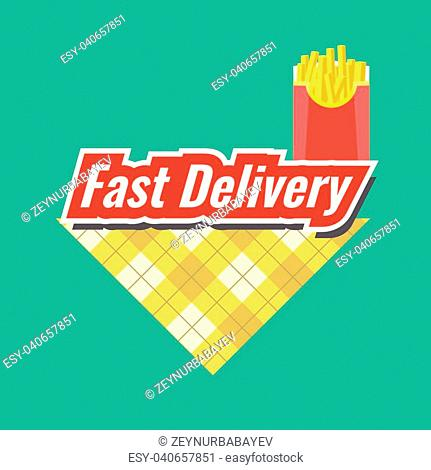 Fast Delivery concept Logo or icon with minimalism style. Flat and solid color vector