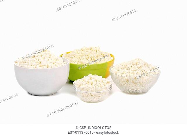 Composition of cottage cheese in bowls