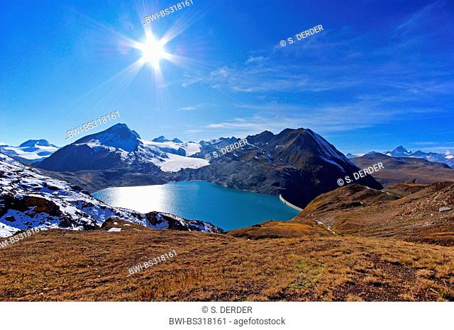 view to lake Griessee and Gries Glacier, Switzerland, Valais, Oberwallis
