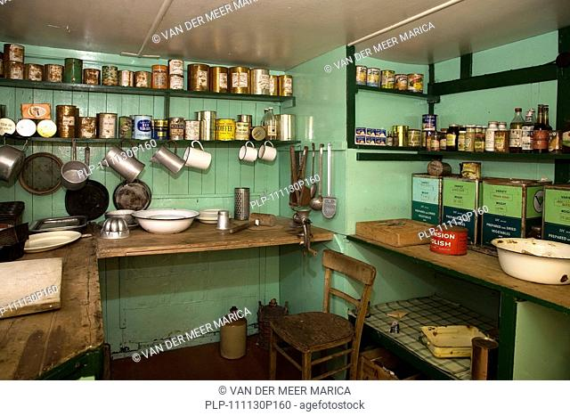 Interior of museum Bransfield House, former British base at Port Lockroy, Antarctica