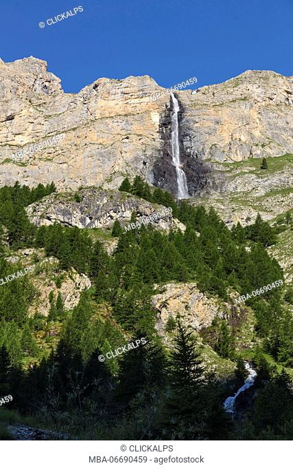 Maira valley (Valle Maira), Cuneo province,Piedmont, Italy, Europe. Stroppia waterfalls