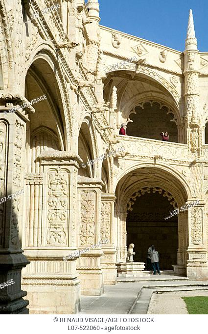 Gothic architecture of interior courtyard of the Monastery of St Jeronimo (Hieronymite Monastery) in Belem. Lisbon. Portugal
