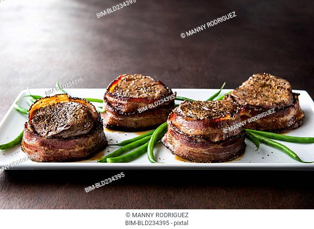 Filet mignon wrapped in bacon