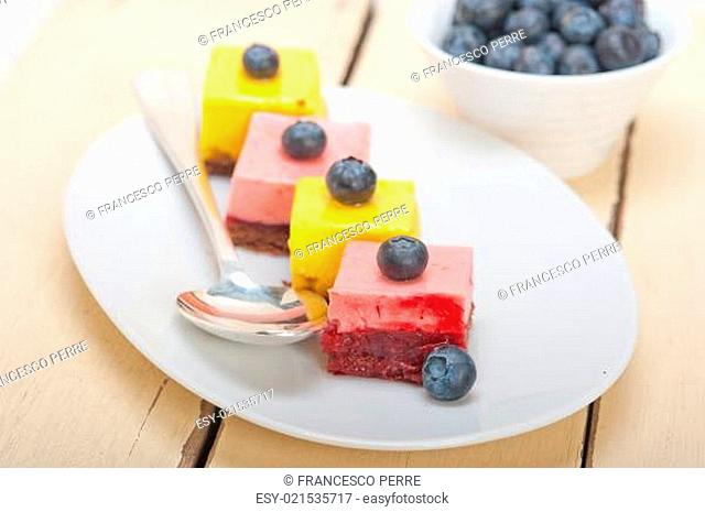 strawberry and mango mousse dessert cake