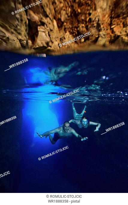Scuba diving, Blue Grotto, Adriatic Sea, Mljet Island, Croatia