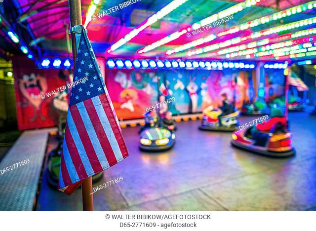 Belgium, Bruges, Christmas Market, bumper cars and US flag