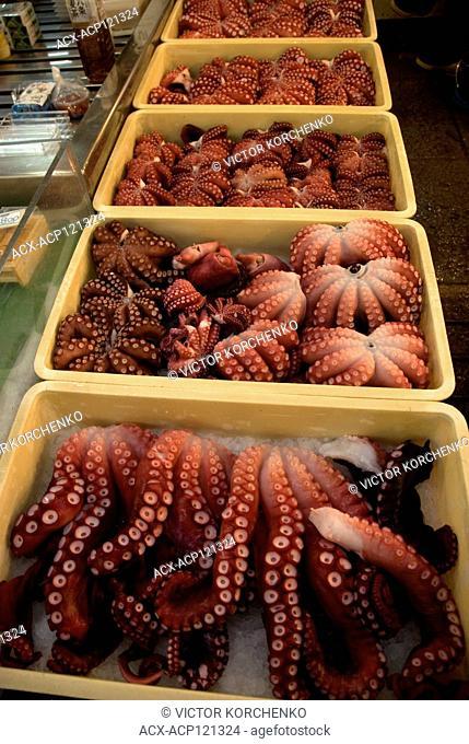 Octopus stalls at Tokyo Tsukiji fish market