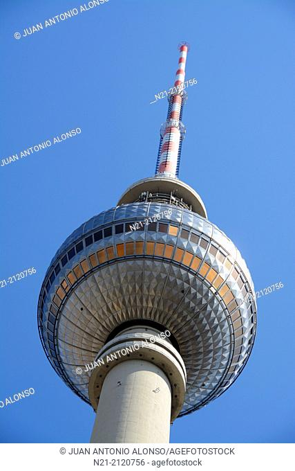Top of the Fernsehturm -Berlin TV Tower- built between 1965 and 1969 by the German Democratic Republic administration. East Berlin, Germany, Europe