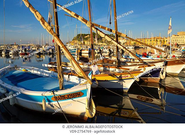 Fishing boats at fishing port, Marina, old harbour. Village of Sanary-sur-Mer. Var department, Provence Alpes Cote d'Azur. French Riviera