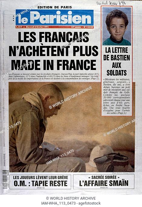 Front Page of the French publication 'L'Autre Journal' reporting on the Gulf War February, 1991. The Gulf War (2 August 1990 - 28 February 1991)