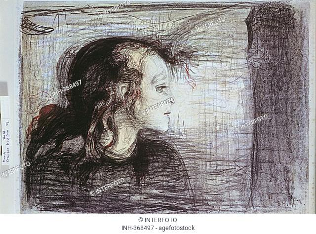 fine arts, Munch, Edvard 1863 - 1944, lithograph, sick girl, Staedel Museum Frankfurt am Main, Norwegian, expressionism, people, sickness, tubercolosis