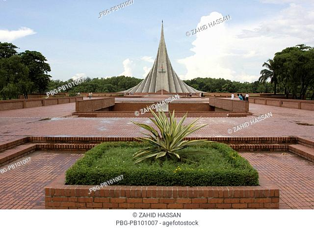 The National Memorial Tower or Jatiya Smriti Shoudha at Savar, about 20 km from Dhaka, in memory of those who sacrificed their lives during liberation War of...