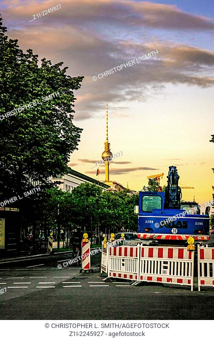 Fernsehturm tv tower in the background overlooking Berlin