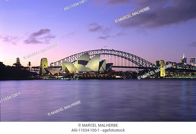 Opera House and Harbour Bridge, Sydney, at dusk
