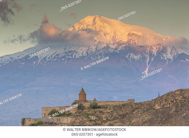 Armenia, Khor Virap, Khor Virap Monastery, 6th century, with Mt. Ararat, dawn