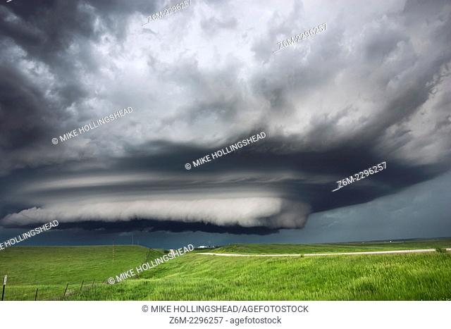 Supercell storm moves across the badlands area of southwest South Dakota near Kadoka, June 7, 2005