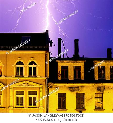 Lighting strikes over buildings in Plagwitz, Leipzig, Saxony, Germany