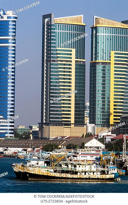 Fishing boats, PSPF Towers, and Kakakuona Tower, Dar-es-Salaam, Tanzania