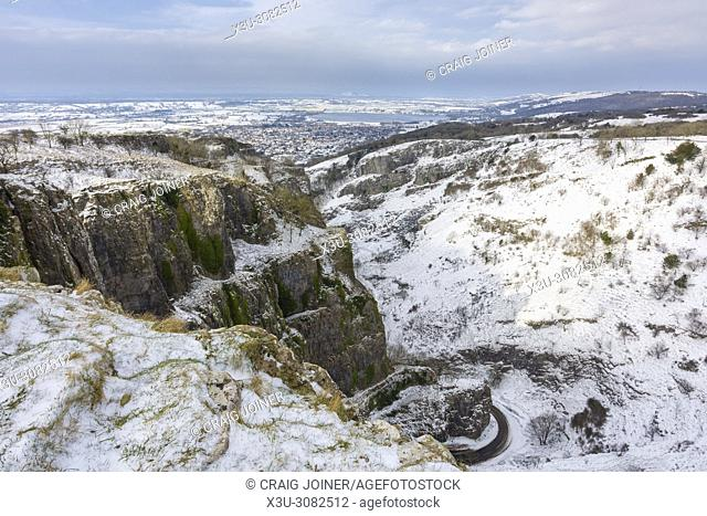 Snow at Cheddar Gorge in the Mendip Hills Area of Outstanding Natural Beauty, Somerset, England