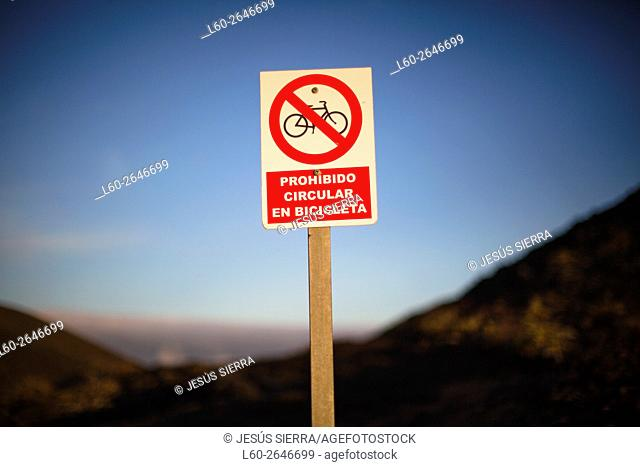 Signal, not Bikes allowed, La Palma, Canary islands, Spain