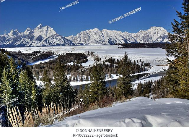 Teton Range & Snake River from Snake River Overlook Grand Teton National Park Wyoming USA