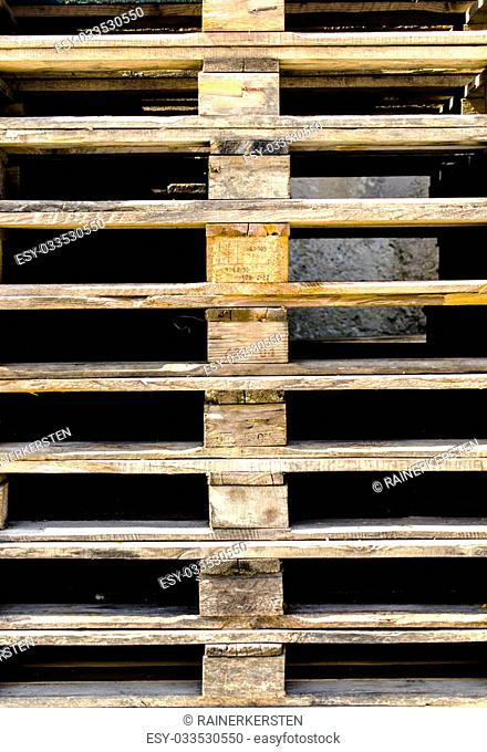 A stock of wooden pallets