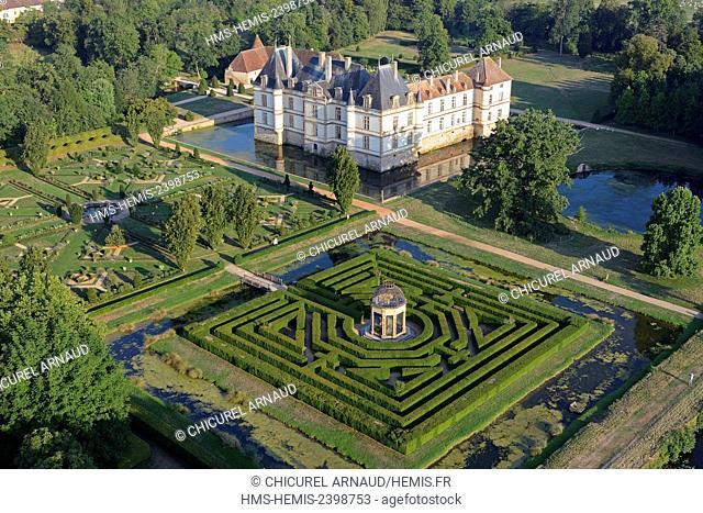 France, Saone et Loire, Cormatin, the castle (aerial view)