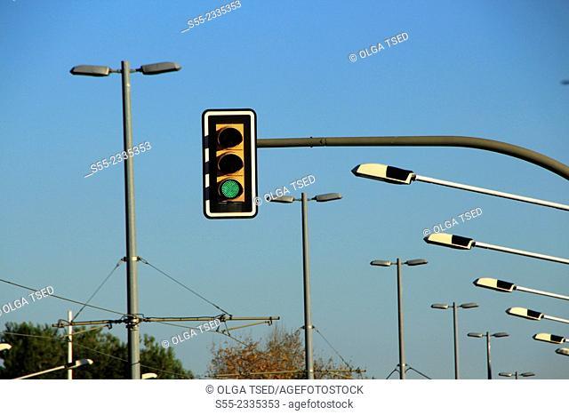 Green traffic light. Esplugues de Llobregat, Barcelona province, Catalonia, Spain