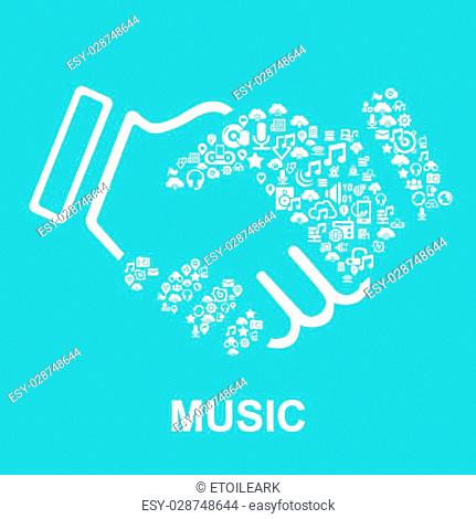 Music concept-Music icon connect together