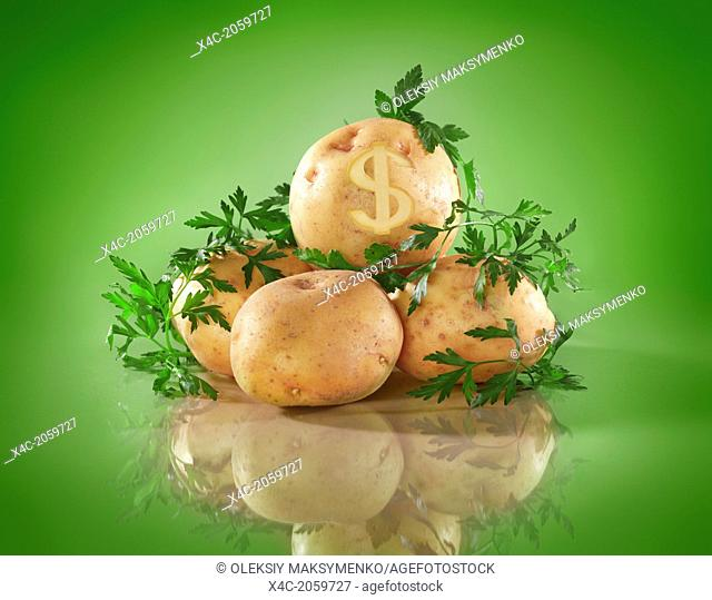 Conceptual food still life of potatoes with dollar symbol. Food prices concept isolated on green background