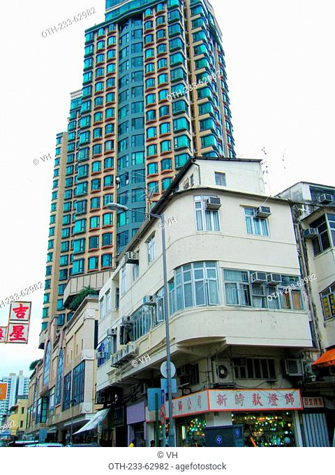 Traditional residence contrasted with new comdominiums at Sheung Shui, New Territories, Hong Kong