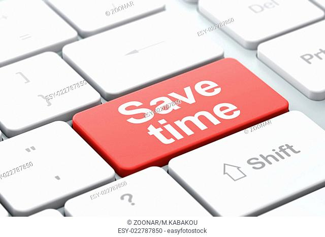 Save Time on computer keyboard background