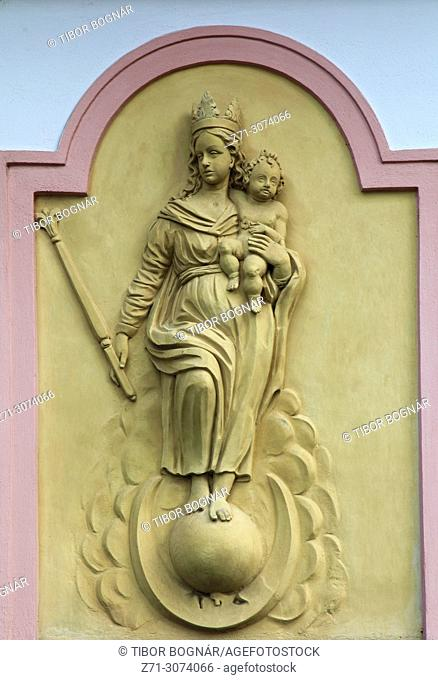 Czech Republic, Moravia, Mikulov, relief, religious image, architecture detail,