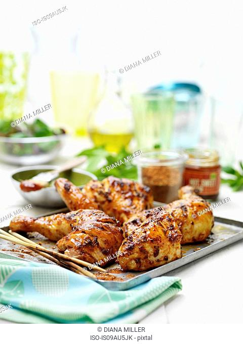 Chicken with BBQ Glaze, summer garden party