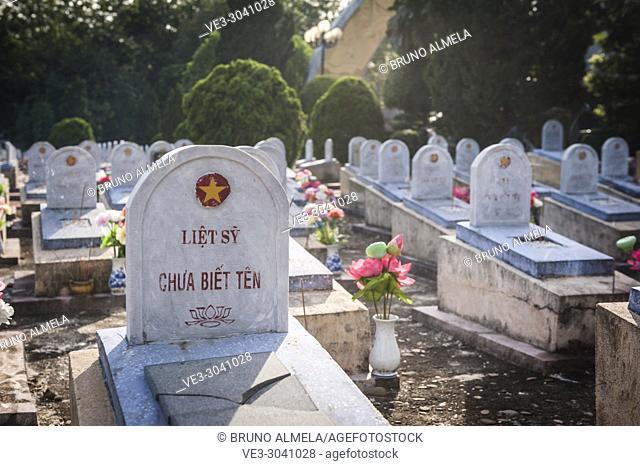 Vietnamese war veteran grave in Nghia trang Liet si Gio Linh, a Military Cemetery in DMZ (Quan Tri province, Vietnam)