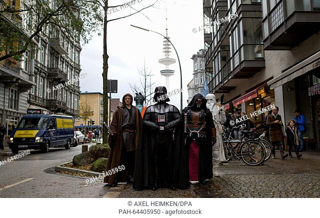Members of a local 'Star Wars' fan club dressed as characters from the Star Wars movies a Jedi Knight (l-r), Greedo, Darth Vader, Darth Revan and a Snowtrooper