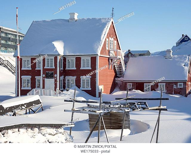 Knud Rasmussen's Museum. Town Ilulissat at the shore of Disko Bay in West Greenland, center for tourism, administration and economy