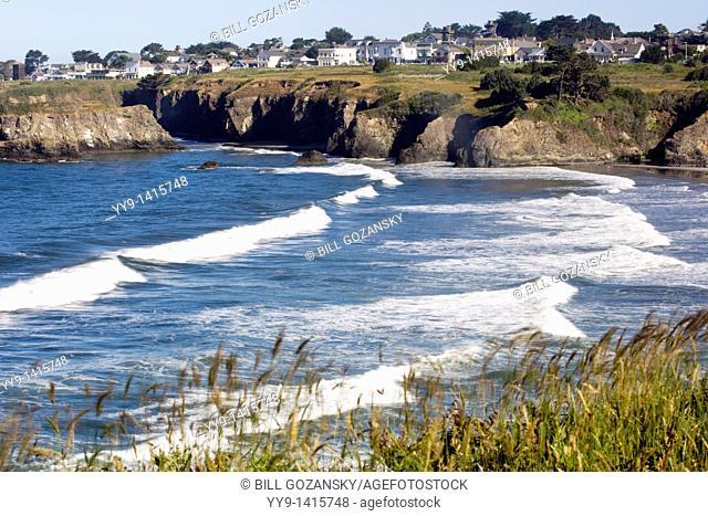 Coastal View of Mendocino bay and headlands - Mendocino, California