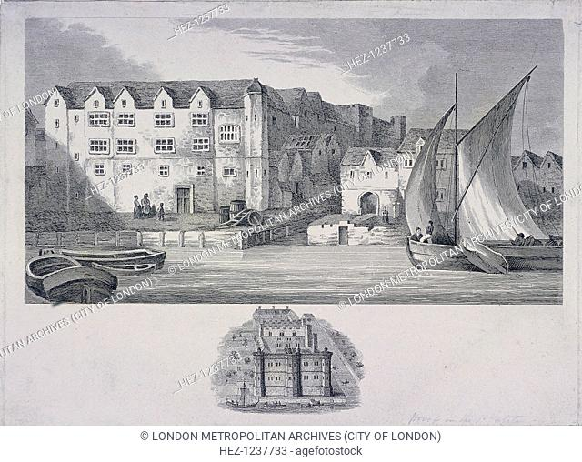 View of Bridewell, London as it appeared around the year 1666, when it was used as a royal palace. The River Thames and boats are seen in the foreground
