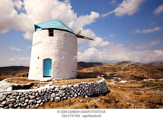Blue domed traditional windmill situated in the upper part of the old town Chora or Chorio, Kimolos, Cyclades Islands, Greek Islands, Greece, Europe