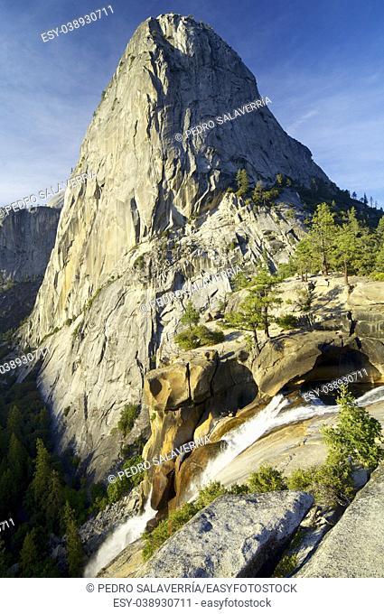 Liberty Cap and Nevada Fall in Yosemite National Park, California, United States