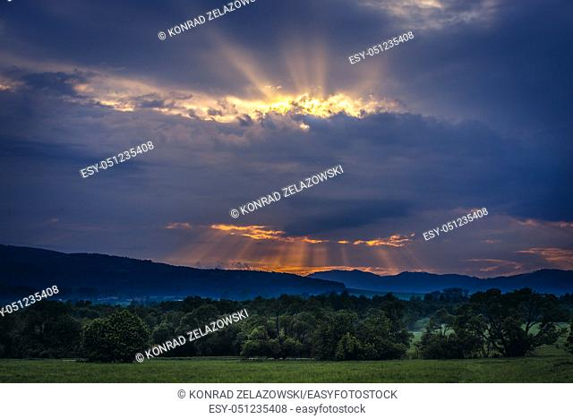 Sunset seen from road in Hrabusice village, on the edge of Slovak Paradise National Park, north part of Slovak Ore Mountains in Slovakia